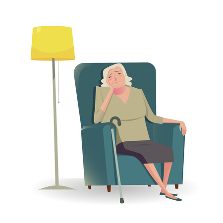 Sad senior woman with cane sitting on a sofa.Vector Illustration character of unhappy or sadly.