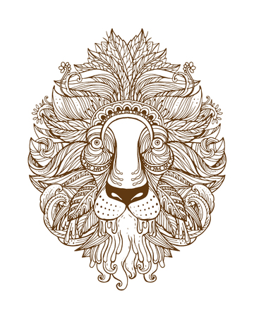 rounding: Hand drawn Ornamental Tattoo Lion Head. Highly Detailed Abstract Isolated.
