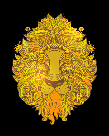 whorls: Hand drawn Ornamental Tattoo Lion Head. Highly Detailed Abstract Isolated.