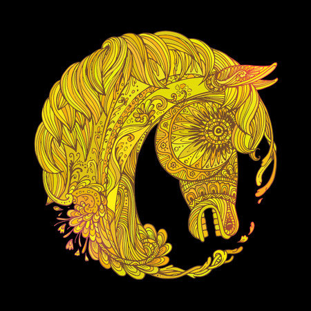 rounding: Hand drawn Ornamental Tattoo Horse Head. Highly Detailed Abstract Isolated.