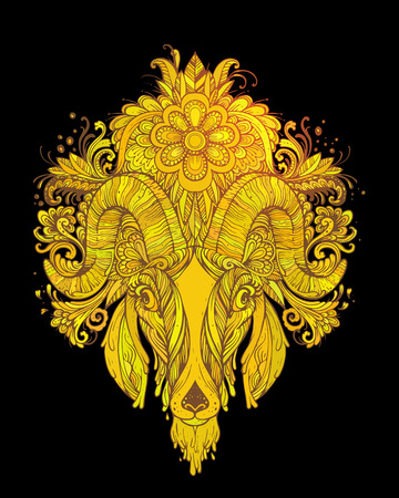 rounding: Hand drawn Ornamental Tattoo Goat Head. Highly Detailed Abstract Isolated. Illustration