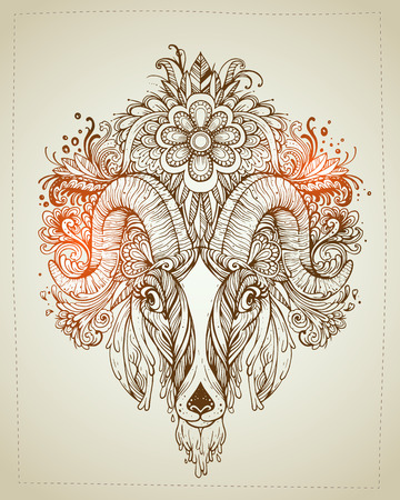 whorls: Hand drawn Ornamental Tattoo Goat Head. Highly Detailed Abstract Isolated. Illustration