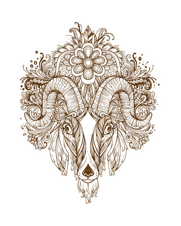 goat head: Hand drawn Ornamental Tattoo Goat Head. Highly Detailed Abstract Isolated. Illustration