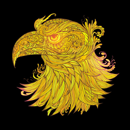 whorls: Hand drawn Ornamental Tattoo Eagle Head. Highly Detailed Abstract Isolated. Illustration
