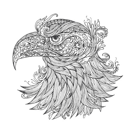 rounding: Hand drawn Ornamental Tattoo Eagle Head. Highly Detailed Abstract Isolated. Illustration
