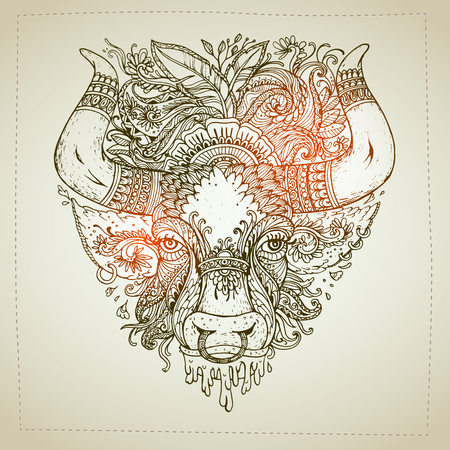 rounding: Hand drawn Ornamental Tattoo Bull Head. Highly Detailed Abstract Isolated.