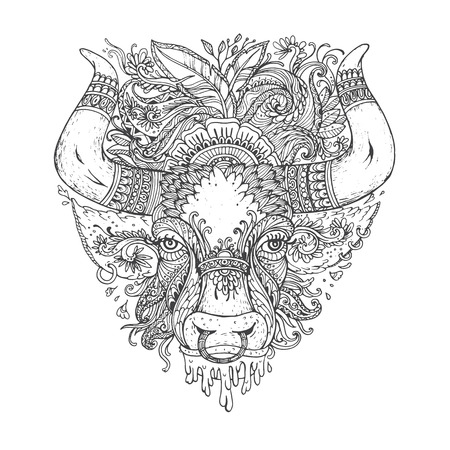 whorls: Hand drawn Ornamental Tattoo Bull Head. Highly Detailed Abstract Isolated.