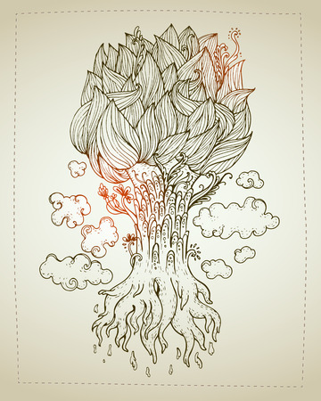 rounding: Hand drawn Ornamental Tattoo Plant Highly Detailed Abstract Isolated.