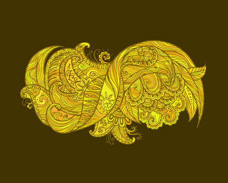 Henna Mehndi Vector : Hand drawn abstract henna mehndi flowers and paisley doodle vector