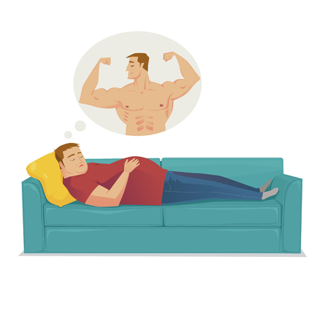 The fat man dreaming about hardy shape. Vector flat illustration. Vectores