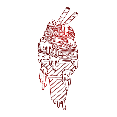 Hand drawn a icecream filled with sour cream melted sloppy flow. Vector illustration graffiti perfect funny Doodle stylized. Illustration