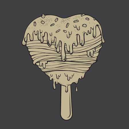 sour cream: Hand drawn a icecream filled with sour cream melted sloppy flow. Vector illustration graffiti perfect funny Doodle stylized. Illustration