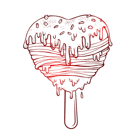 cream filled: Hand drawn a icecream filled with sour cream melted sloppy flow. Vector illustration graffiti perfect funny Doodle stylized. Illustration
