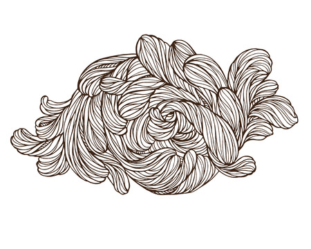 Abstact doodle floral highly detailed hand drawn. Beautiful motif, tattoo design element. Book concept art. Isolated vector illustration in line style.