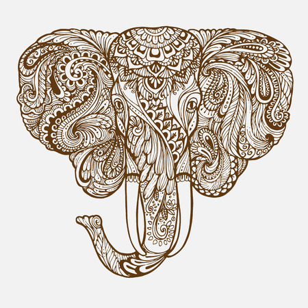 Hand-drawn Oriental elephant with ethnic ornaments floral doodle pattern. Vector illustration Henna Mandala Zentangle stylized. Design for spiritual relaxation for adults. Иллюстрация