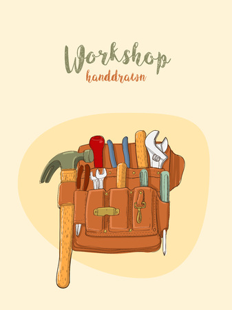 Hand draw tool bag for repairman, Illustration Artworks design for posters or card cover book.