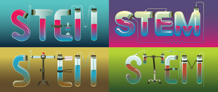 Abstract Illustration of STEM word