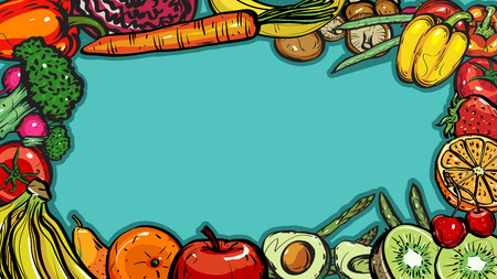 Hand drawn frame healthy food of different fruits and vegetables on blue background, Vector Illustration for card or printing, web design. Stock Illustratie