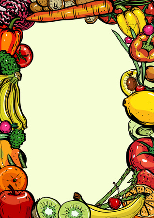 Hand drawn frame healthy food of different fruits and vegetables on white background, Vector Illustration for card or printing, web design.