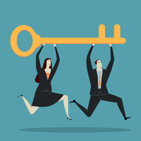 overcoming adversity: Businessman holding key, metaphor or symbol of overcoming adversity in strategy and finding leadership solutions corporate of success. Vector Illustration flat style. Illustration