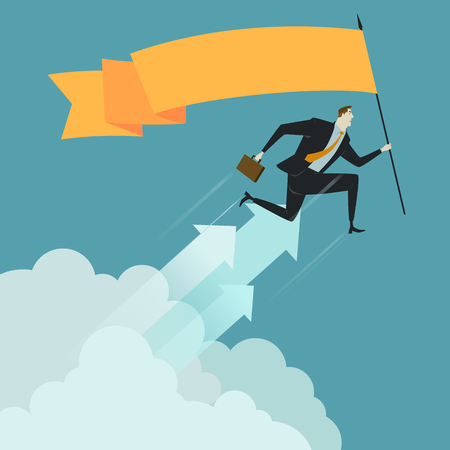 overcoming adversity: Businessman hold flag above cloud, metaphor or symbol of overcoming adversity in strategy and finding leadership solutions corporate of success. Vector Illustration flat style.