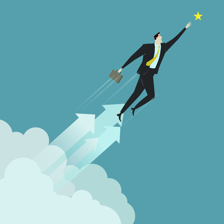 overcoming adversity: Businessman grabbing the star above cloud, metaphor or symbol of overcoming adversity in strategy and finding leadership solutions corporate of success. Vector Illustration flat style.