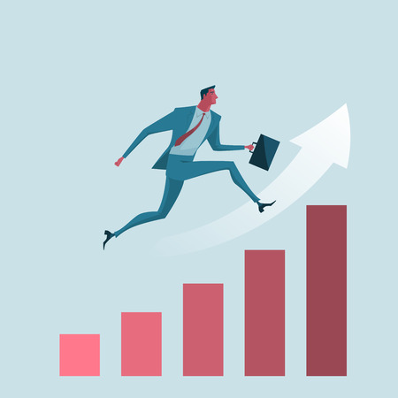 overcoming adversity: Businessman jumping over the chart. metaphor or symbol of overcoming adversity in strategy and finding leadership solutions corporate of success. Vector Illustration flat style.