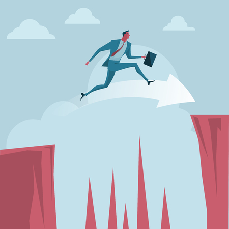 overcoming adversity: Businessman jumping over between the cliffs. metaphor or symbol of overcoming adversity in strategy and finding leadership solutions corporate of success. Vector Illustration flat style.