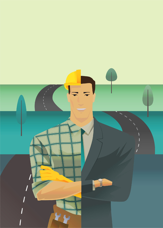 punctuate: Differential of a man with a half of a face with a work clothes and suits on winding road background. metaphor of leadership solutions corporate of success. Vector Illustration flat style.