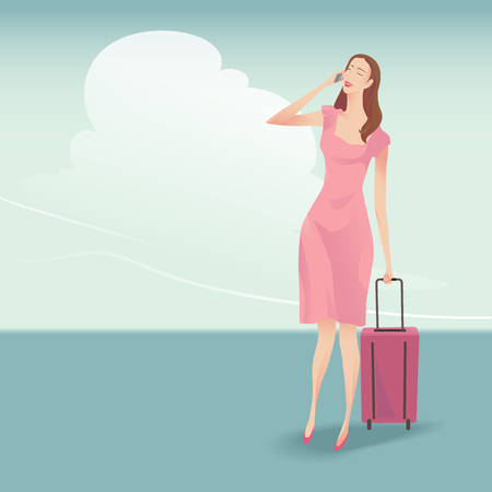 happy family: The pretty woman traveller with suitcase walking and talking on the phone, She wearing a pink dress on blue sky background. Illustration