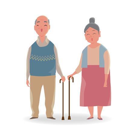 Full length portrait of senior couple with a walking cane smiling isolated on white background.