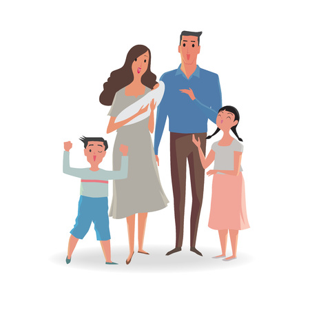 happy family: Happy family of father, mother, sister and son. Vector illustrations isolated on white background. Illustration