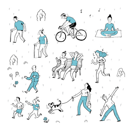happy family: Hand drawn of action people in the park, cartoon characters and elements, sketch.