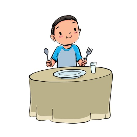 The boy have lunch. Vector illustration hand drawn style isolate background.