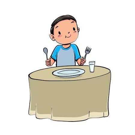 Il ragazzo pranza. Fondo disegnato a mano dell'isolato di stile dell'illustrazione di vettore.