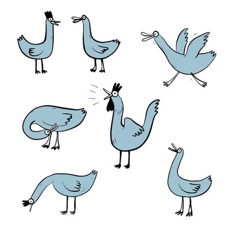 Vector illustration set design different emotion of duck. Hand draw doodle style. 일러스트