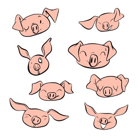 Vector illustration set design different emotion face of pig.Hand draw doodle style.