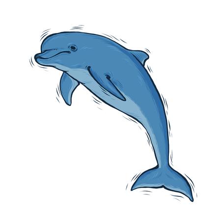 Hand drawn Blue dolphin with black line art 일러스트