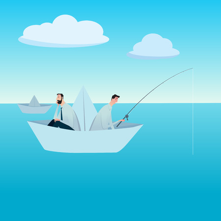 Men fishing on a paper boat. metaphor or symbol of overcoming adversity in strategy and finding leadership solutions corporate of success. Vector Illustration flat style.