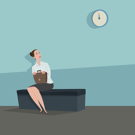 Young woman sitting on the chair looking the clock waiting for someone. 일러스트