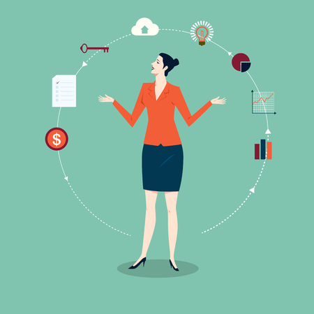 Business woman presentation standing with chart and graph, metaphor or symbol of overcoming adversity in strategy and finding leadership solutions corporate of success. Vector Illustration flat style.