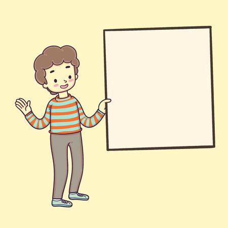 Boy holding frame, Vector illustration.