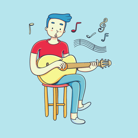Young man playing guitar and sings a song. Vector doodle art illustration. 일러스트
