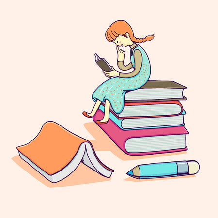 Happy child little girl with reading a books.