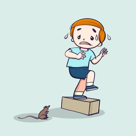 Little boy screaming scared mouse. Vector line art cartoon illustration.