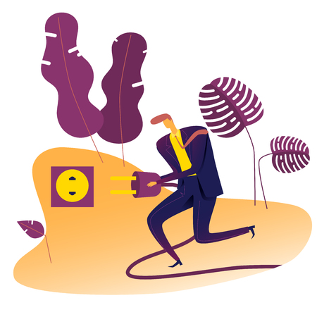Businessman plugging power cord into outlet, Vector Illustration