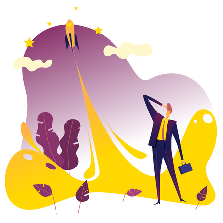 Businessman looking up the rocket to the sky, Business growth and start up concept. Vector illustration.