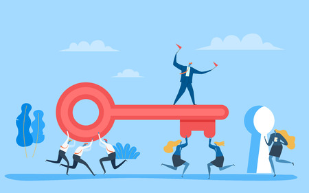 Business team carrying big key to unlock the lock. Vector Illustration Business concept to success.