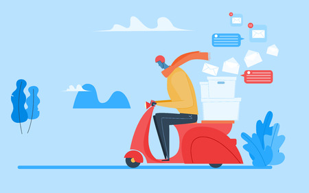 The man rides on scooter with parcel. Vector modern flat cartoon character illustration design.