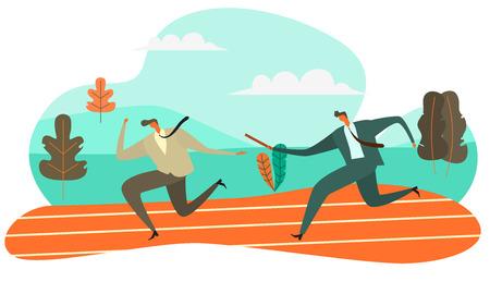 Geschäftsmann, der Baton an seinen Kollegen im Staffellauf übergibt, Vektorillustrations-Teamwork-Konzept